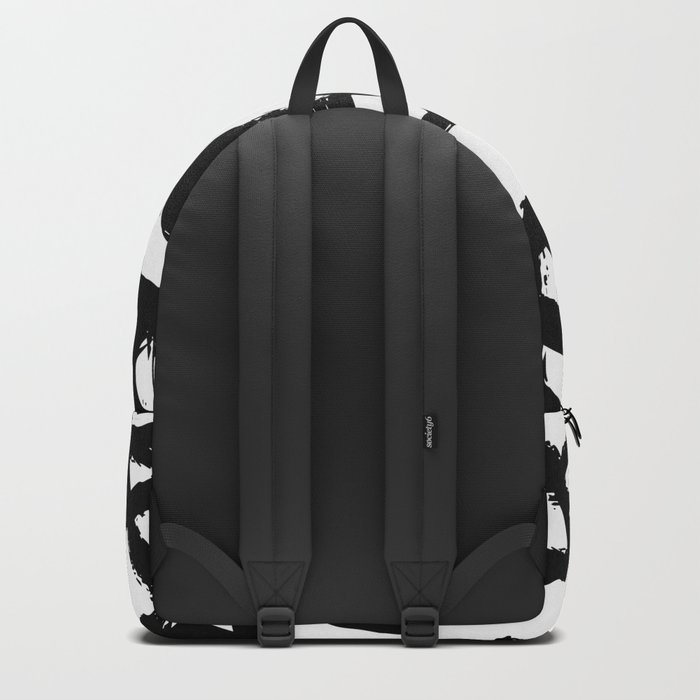 Painted Geometric Black and White Backpack