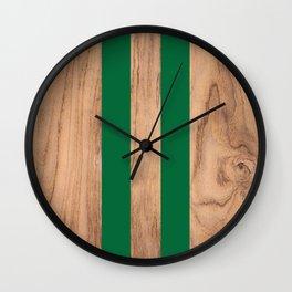 Wood Grain Stripes Green #319 Wall Clock