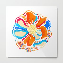 colorful illustration flower in simple background  Metal Print