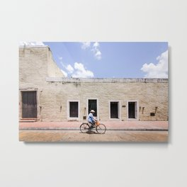 Riding a Bike in Merida, Mexico Metal Print