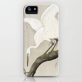 White Heron Sitting On A Tree Branch - Vintage Japanese Woodblock Print Art iPhone Case