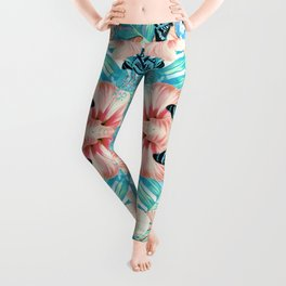 Tropical Spring Aqua Leggings