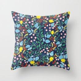 Floral Garden - Blue Throw Pillow