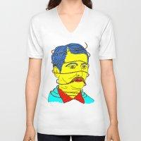 moustache V-neck T-shirts featuring moustache by DIVIDUS DESIGN STUDIO