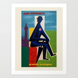 Air France. Vintage travel advertising poster to promote travel to Great Britain. Guy Georget 1963. Art Print