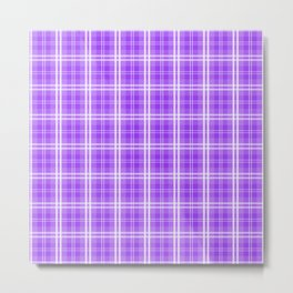 Bright Neon Purple White Tartan Plaid Check Metal Print