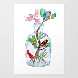 Birds in a Bottle Watercolor Painting Art Print