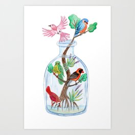 Birds in a Bottle Watercolor Painting Art Print