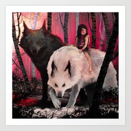 With my wolves Art Print