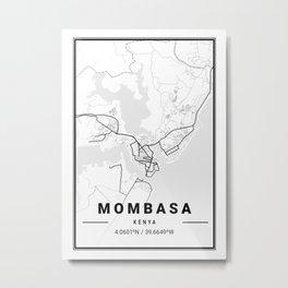 Mombasa Light City Map Metal Print