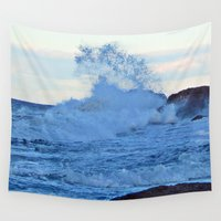 geology Wall Tapestries featuring Exploding Surf  by DanByTheSea