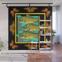 MODERN  MONARCH BUTTERFLIES FISH BLACK  AQUATIC  COLLAGE Wall Mural