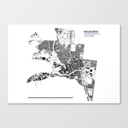 MELBOURNE BLACK & WHITE MAP Canvas Print