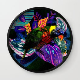 Colorful Rainbow Lorikeet with Tropical Plants Wall Clock