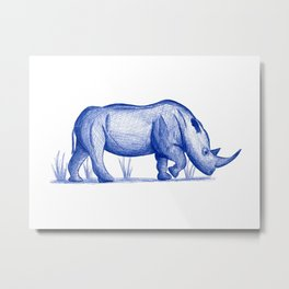 Save The Rhinos (50% of commissions are donated to the World Wildlife Fund) Metal Print
