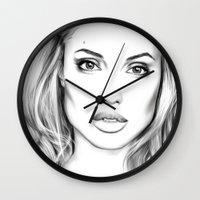 angelina jolie Wall Clocks featuring Angelina Jolie fanart  by Thubakabra