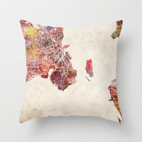 copenhagen Throw Pillows featuring Copenhagen by MapMapMaps.Watercolors