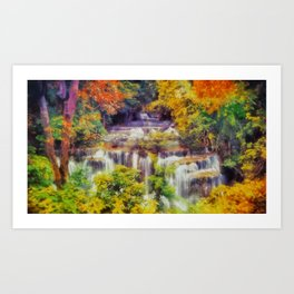 Autumn landscape with waterfall Art Print