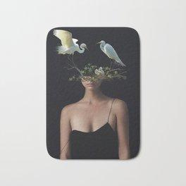 Lady with Birds 3 Bath Mat