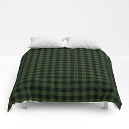 Dark Forest Green and Black Gingham Checkcom Comforters