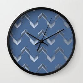 Simply Deconstructed Chevron White Gold Sands  on Aegean Blue Wall Clock