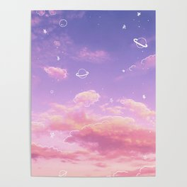 Doodle Pastel Sunset Poster
