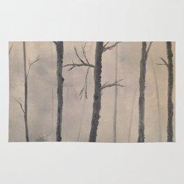 Misty Forest - Birch trees Rug