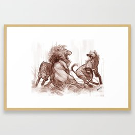 Lion vs Hyena Framed Art Print