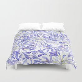 blue purple African lily watercolor painting Duvet Cover