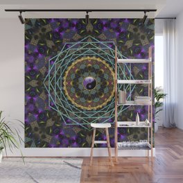 Purple Yin Yang Sacred Geometry Fractals Wall Mural