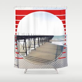 Vitorian Pier - red graphic Shower Curtain