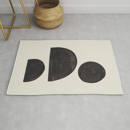 Black & White Minimalist Abstract Shapes Patterns Black Ink Painting Rug