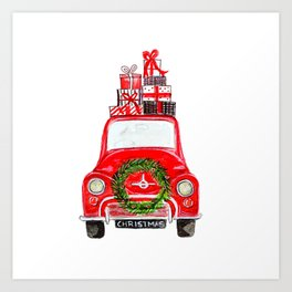Red Christmas Car - white  Art Print