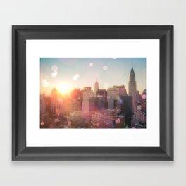 New York City Skyline Love Framed Art Print