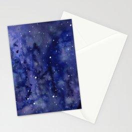 Night Sky Galaxy Nebula Stars Watercolor Space Texture Stationery Cards