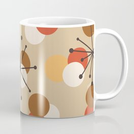 Atomic Age Molecules Starbursts Brown Orange Coffee Mug