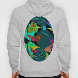 Butterfly Dream Catchers Teal Abstract Hoody