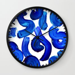 Blue paint strokes pattern Wall Clock