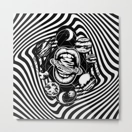 psychogoth_mouth with planets Metal Print