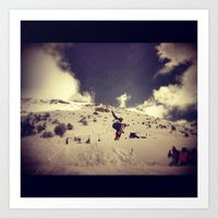snowboarding Art Prints featuring Snowboarding by Zumazan