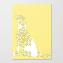 Yellow Damask Labrador Retriever Dog Canvas Print
