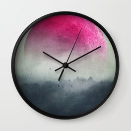 Pink Moon over Misty Woodlands Wall Clock