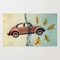 vw Area & Throw Rugs featuring VW beetle and goldfish by Vin Zzep