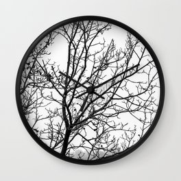 Black and white branches on a foggy morning Wall Clock