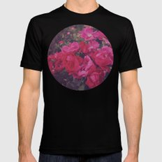 Faded Floral MEDIUM Black Mens Fitted Tee