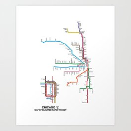 Chicago CTA Map, Chicago Wall Art, CTA Art Print Art Print