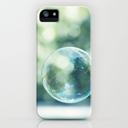 Bubble Photography, Bathroom Blue Green Art, Soap Bubbles Laundry Room Print, Bath Nursery Photo iPhone Case