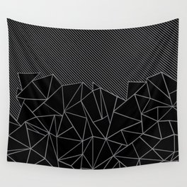 Ab Lines 45 Grey and Black Wall Tapestry