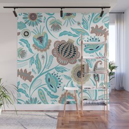 Colorful exotic folk flowers pattern Wall Mural