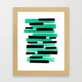 Pastel Teal Primitive Stripes Mid Century Modern Minimalist Watercolor Gouache Painting Colorful Str Framed Art Print